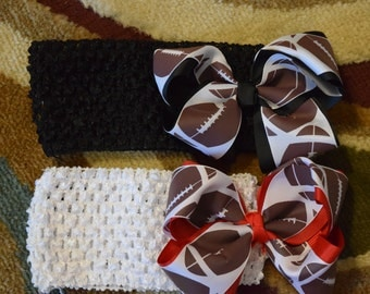 Football Crochet headband with bow
