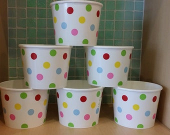 High Quality Yogurt Cups, Pack of 12- Twelve 16 oz. Ice Cream Cups with Polka Dots