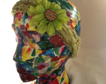 Crochet Headband Womens Hair Accessory Lime Green Flower Child Hippie Chic Silk Flower Custom Button