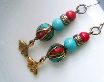 Bohemian earrings Turquoise jewelry Coral, brass earrings Ethnic long earrings Ginkgo leaf jewelry Tibetan, turquoise earrings Asian jewelry