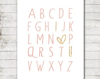 "Nursery Art Printable 8x10 Download Pink Alphabet with Sparkly Gold ""I love you"" Nursery Print"