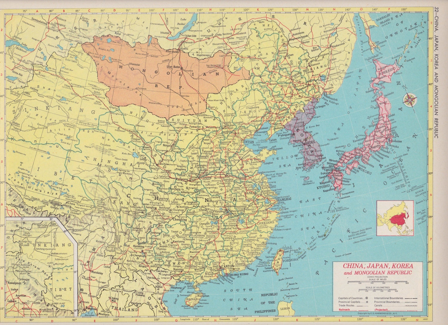 Off Estate Sale Vintage Map Art Map Of Southeast Asia S - Map of usa for sale