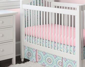 Girl Baby Crib Bedding: Aqua Haute Baby 3-Piece Crib Bedding Set by Carousel Designs