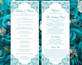 "Wedding Program Template ""Isabella"" Teal Order of Service Word.doc Instant Down. Make Your Own Programs Order Any Color DIY You Print"