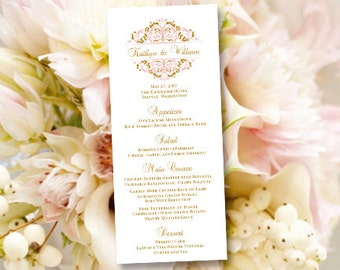 """Printable Wedding Menu Template """"Grace"""" Tea Rose Pink & Gold Editable Word.doc Instant Download ALL COLORS Available DIY You Print"""