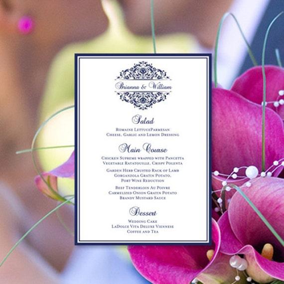 Printable wedding menu template quot grace quot navy blue editable word doc