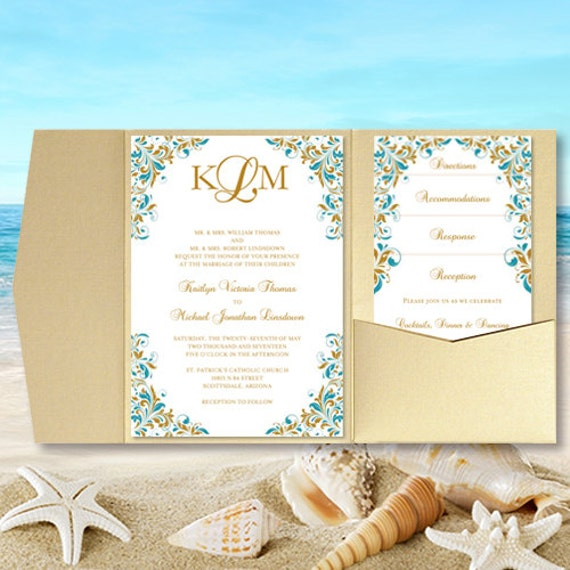 Print Your Own Wedding Invitations: DIY Pocket Wedding Invitations Kaitlyn Teal & Gold