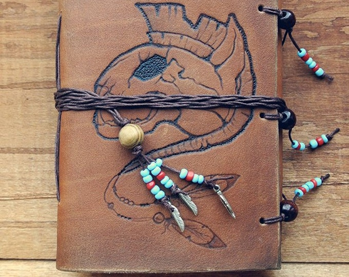 "notebook of natural leather ""cat out of the tribe of the Iroquois"""