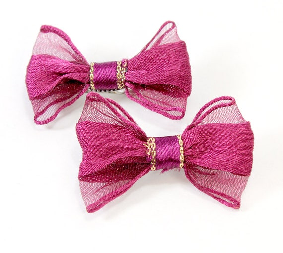 wine color bows set of two puppy hair bows by