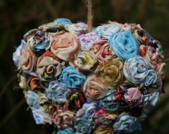 Small Fabric Flower Heart