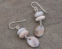 Stacked Beach Pebble Earrings, Rustic Natural Stone Earrings, Zen Earrings, Drilled Beach Stones.  Beige and Grey, Beach Stone Earrings.