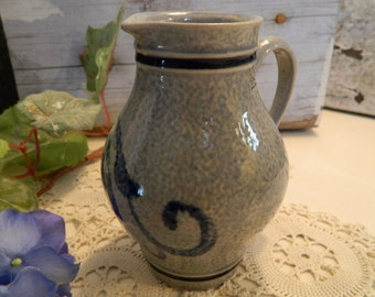 Vintage German Salt Glazed Stoneware Pottery .25 Liter Pitcher Marzi Remy