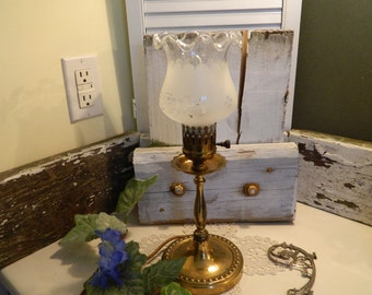 Antique Brass Bedroom Vanity Frosted Shade Lamp