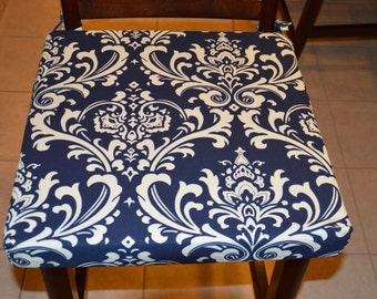 navy blue with cream twill fabric chair cushion cover barstool cushion cushion - Bar Stool Cushions
