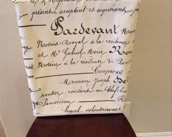 Black Cream Calligraphy Fabric Custom Chair Back Cover Removable Washable