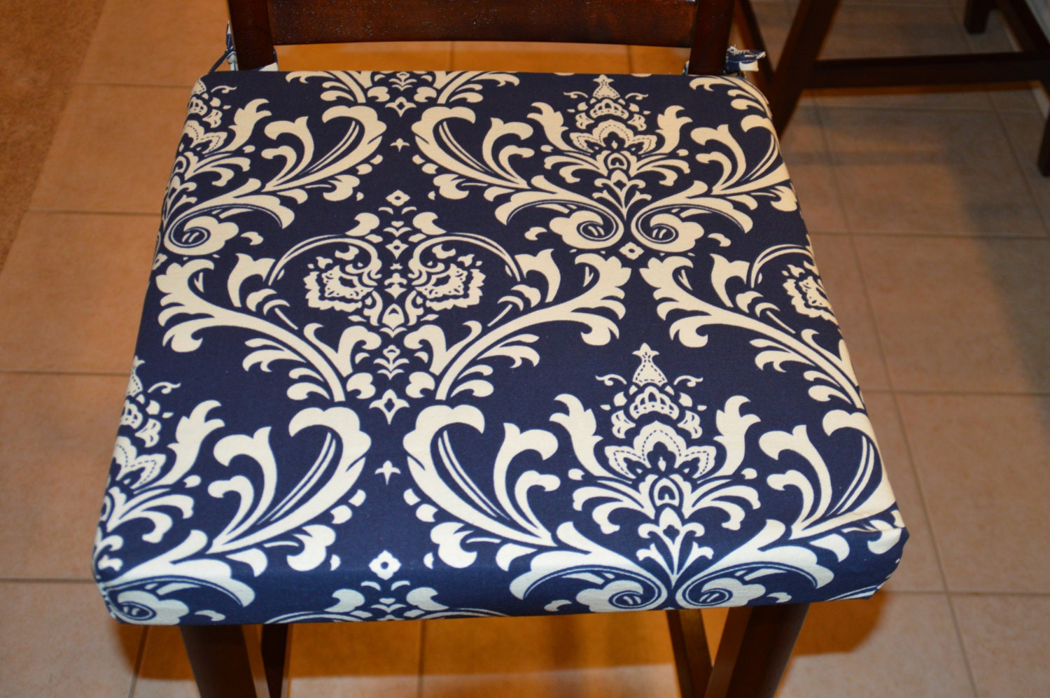 Navy Blue With Cream Twill Fabric Chair Cushion Cover