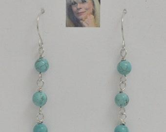 Sky Blue Fire Turquoise Sterling Silver Dangle Earrings CSS149E