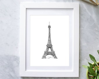 Paris Eiffel Tower Print - Handmade Paris Illustration