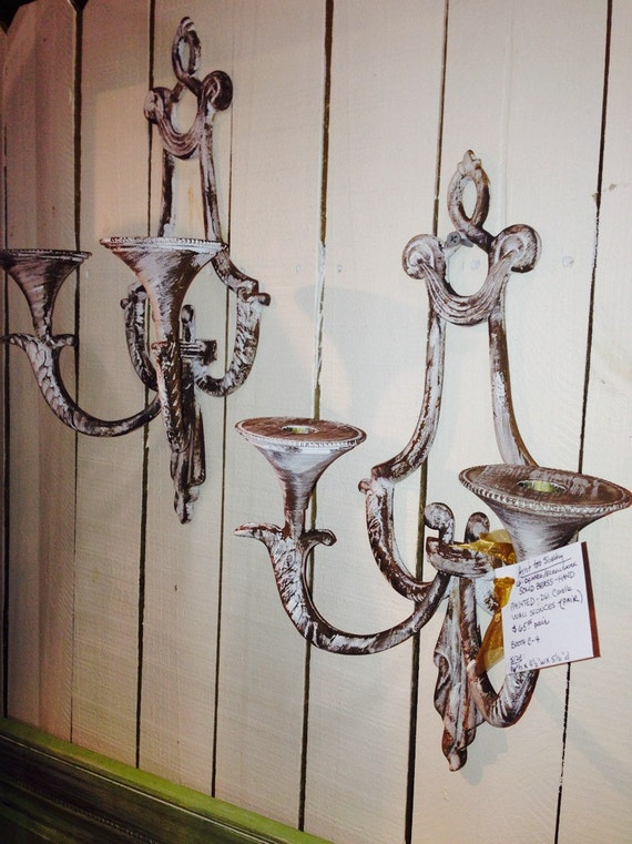 Painting Brass Wall Sconces : Vintage Double Candle Solid Brass Wall Sconces Painted Pair