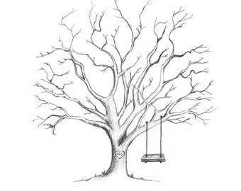 ADD ON Swing With Girl Or Boy For Hand Drawn Fingerprint Tree Guestbook