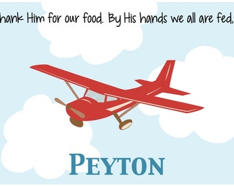 Personalized Placemat - Kids Placemat - Childrens Placemat - Childs Placemat - Laminated Placemat - Baptism Gift - Cub Airplane