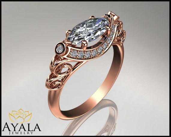 Items similar to 14K Rose Gold Marquise Diamond Ring Unique engagement ring H