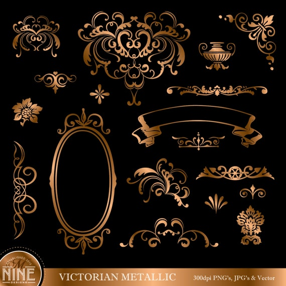 Victorian Design Elements bronze victorian design elements digital clipart instant