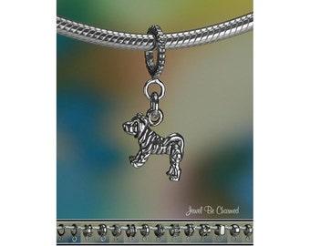 Tiny Sharpei Charm or European Charm Bracelet Sterling Silver Shar-Pei