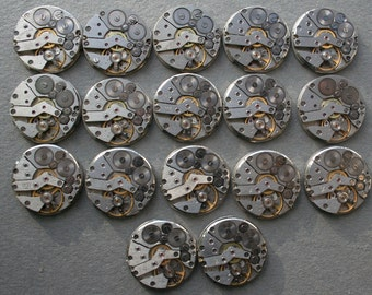 "1"" , Set of 17   Vintage Soviet Watch movements , steampunk parts"