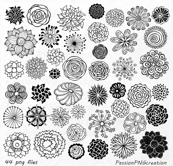 BIG SET 44 Hand Drawn Flowers clipart flower element flower