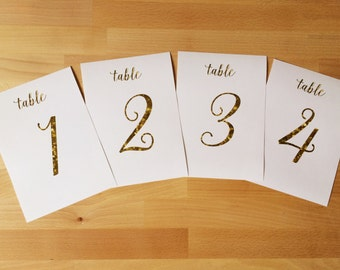 Gold Sparkle Table Numbers Set of 10, 20, 30 or Printable File / Wedding & Event Table Numbers / #901