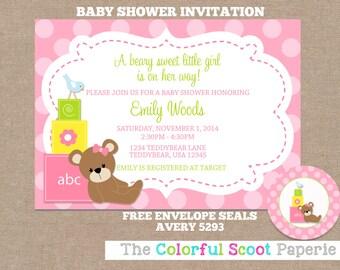 Baby Blocks Shower Invitation, Baby Blocks Baby Shower Invite, Baby Blocks, Bear Baby Shower, Girl Shower Invitation (#387)