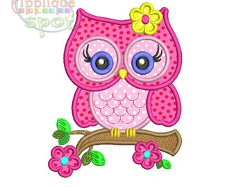 Cute Girly Owl Spring Flowers 4x4 5x7 6x10 Applique Design Embroidery Machine -Instant Download File