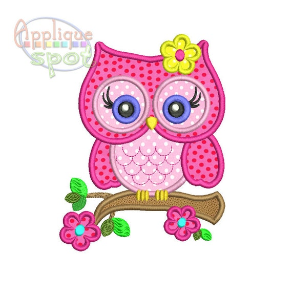 Cute Girly Owl Spring Flowers 4x4 5x7 6x10 Applique Design