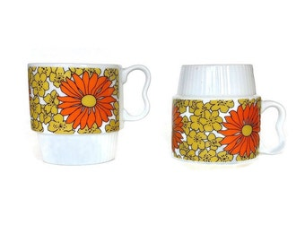 Retro Coffee Mugs, Flowers, Yellow, Orange, Daisy