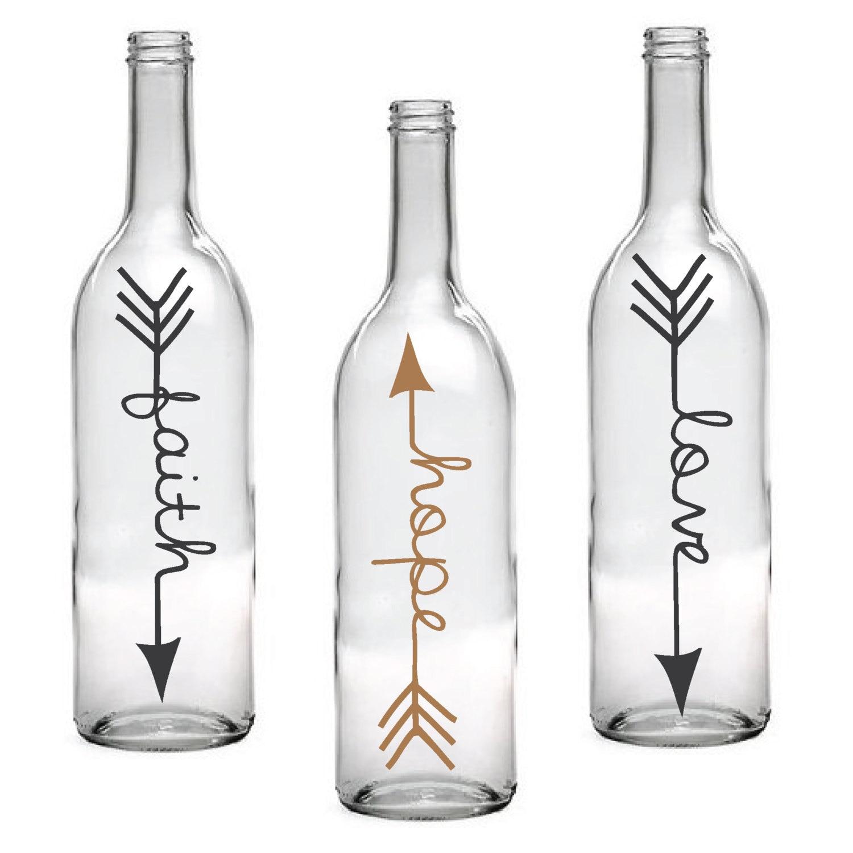 set of 3 faith hope love wine bottle with arrow design. Black Bedroom Furniture Sets. Home Design Ideas