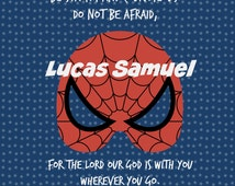 Personalized Scripture Art for Child, Super Heroes, Child Dedication Art, Baby Dedication Gift, Spiderman Art, Super Hero Art for Baby/Child