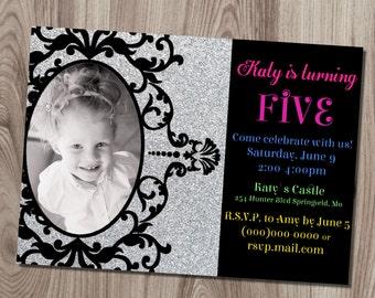 Ornate Silver Glitter Frame Birthday Invitation DIY Printable