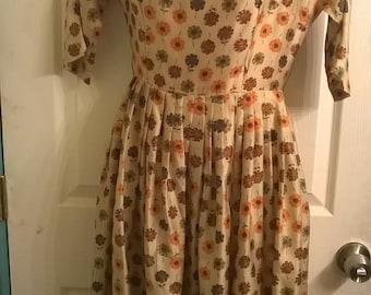 Vintage 50's Silk floral Autumn dress