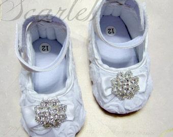 White Rosette Baby Girl Shoes
