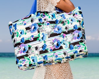 ON SALE Extra Large Beach Bag, Blue Floral Print