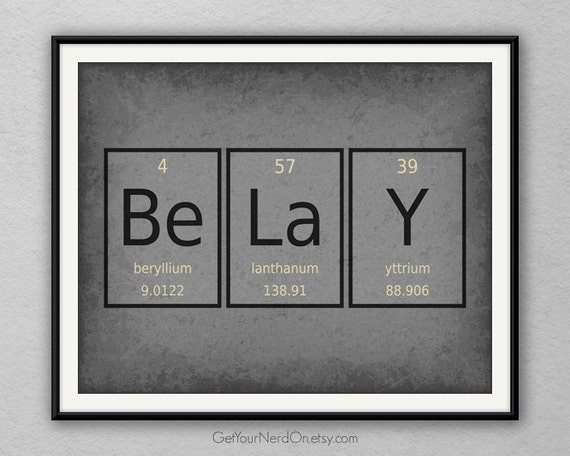 periodic table word poster belay wall art print by getyournerdon. Black Bedroom Furniture Sets. Home Design Ideas