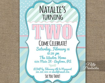 2nd Birthday Invitations, Printable Two Years Old Birthday Invitation, Girls 2nd Birthday Party, Pink Turquoise, Mint Green Invites, 2 Years
