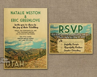 Utah Wedding Invitation - Printable Utah Mountains Wedding Invites - Utah Nature Retro Camping Wedding Suite or Solo VTW