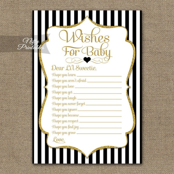 wishes for baby game black gold baby shower game baby wishes