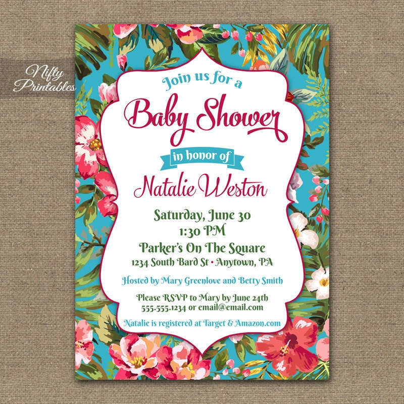 Tropical Baby Shower Invitations Printable Hawaiian Luau