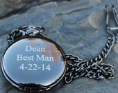 Personalized Gun Black Metal Watch Groomsmen  Best Man Groom Wedding Party Gifts pocket watches