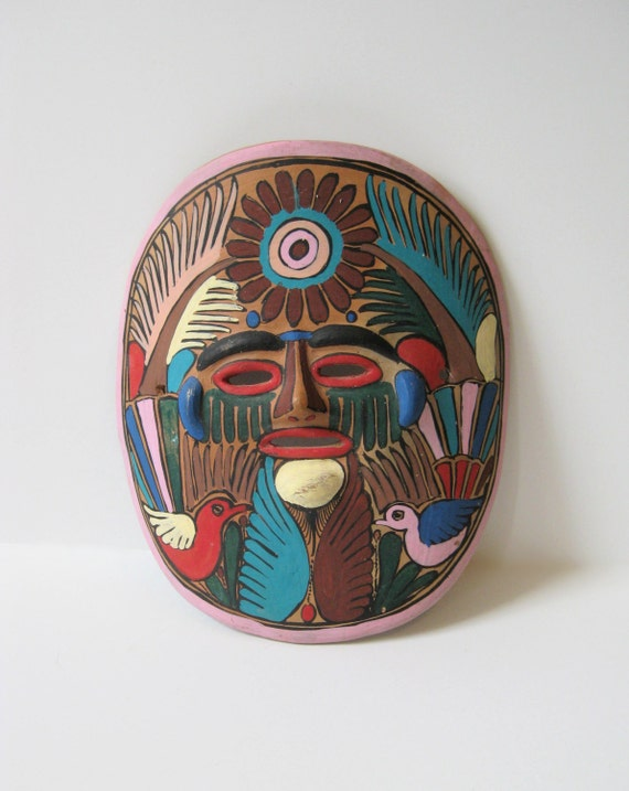 Mexican Terracotta Wall Sconces : Mexico Mask Terra Cotta Hand Painted Tribal Mask Vintage