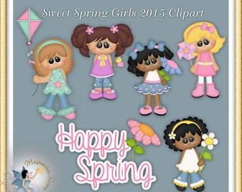 Sweet Spring Girls Clipart