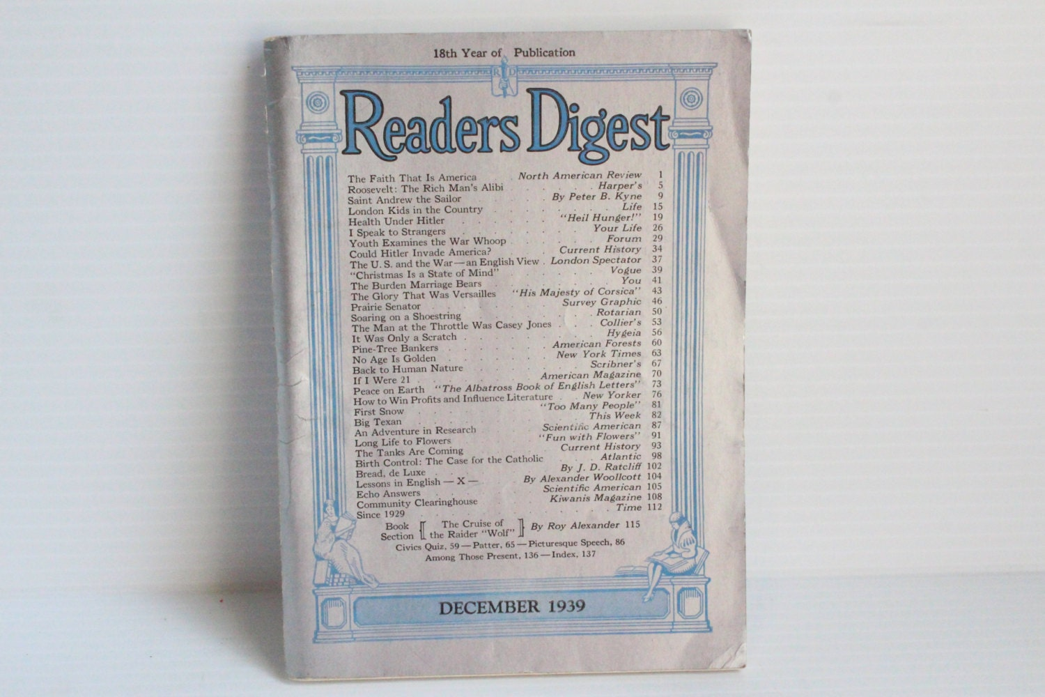 READER'S DIGEST December 1939 Vintage Magazine Vintage